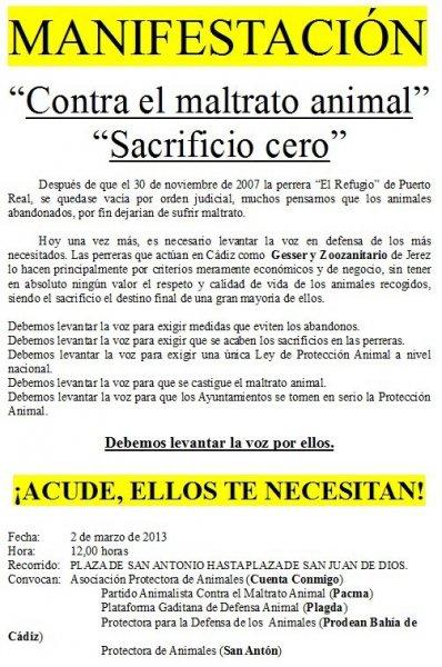Cádiz y Jerez se manifiestarán contra maltrato animal y por el sacrificio cero