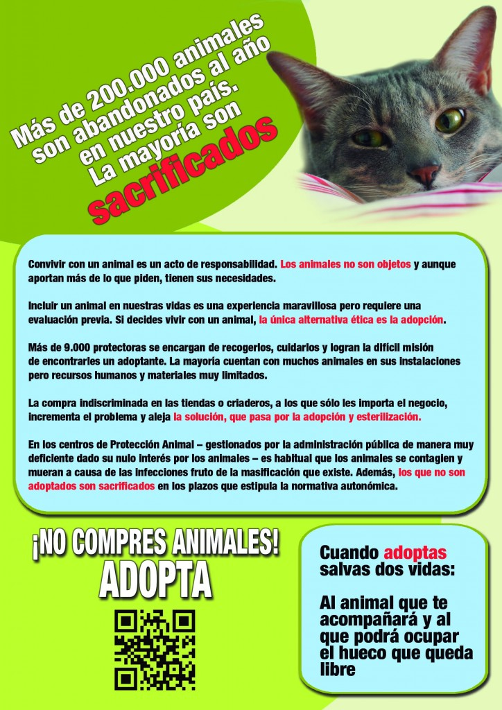 "Folleto para campaña ""Adopta, no compres"""