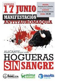 Manifestación antitaurina Alicante: HOGUERAS SIN SANGRE 2011