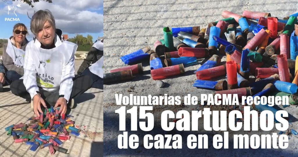 Voluntarias de PACMA recogen 115 cartuchos de caza en el entorno de Navalcarnero, Madrid