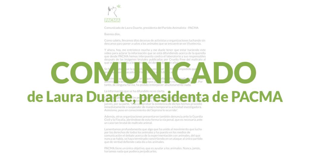 Comunicado de Laura Duarte acerca del caso de Vivotecnia