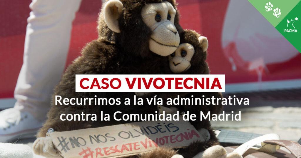 Dos peluches de monos con un cartel en el que pone: No nos olvidéis. Superpuesto, el texto: Caso Vivotecnia. Recurrimos por la vía administrativa contra la Comunidad de Madrid.